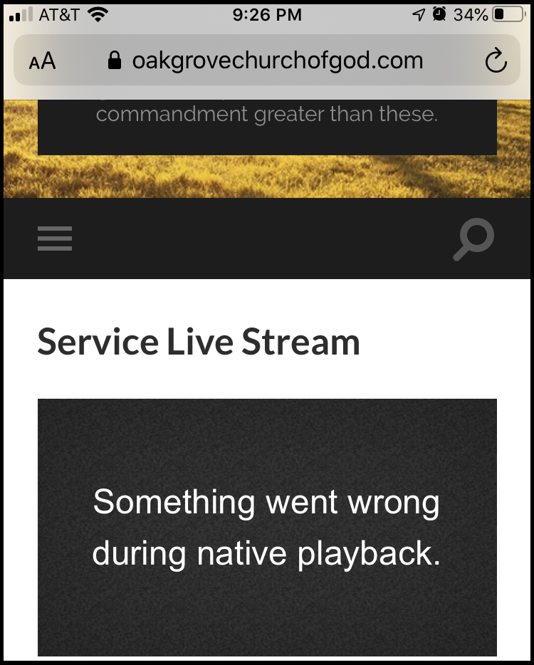 """Mobile Video Player Error - """"Something went wrong during native playback"""" - sometimes display if live stream is not active"""